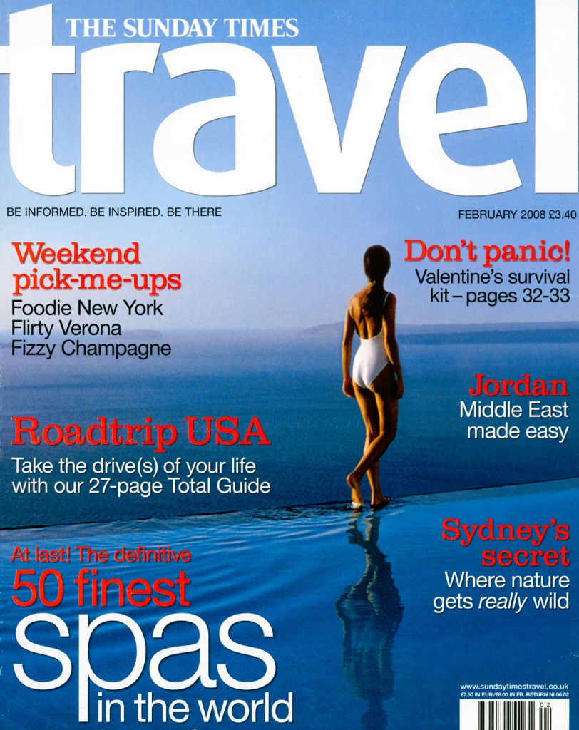 Perivolas Infinity Pool on the Cover of The Sunday Times Travel