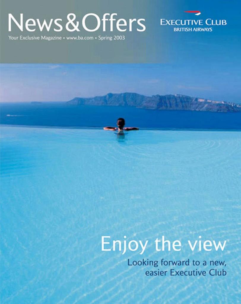 Perivolas Infinity Pool on the Cover of BA In-flight Magazine