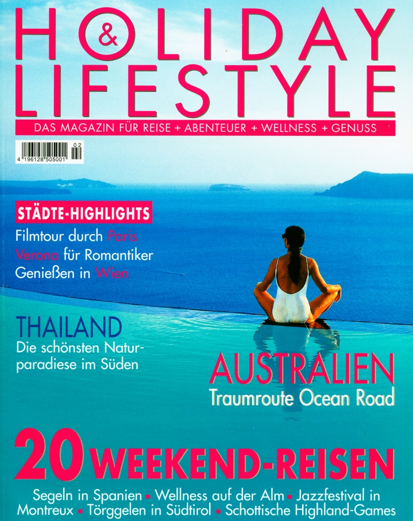 Perivolas Infinity Pool on the Cover of Holiday & Lifestyle