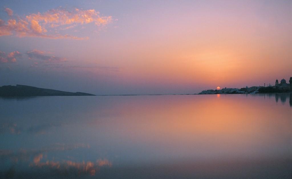 Sunset at Perivolas Infinity Pool
